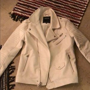 White Python Faux Leather Jacket